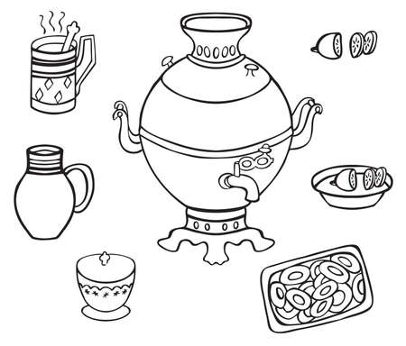samovar: illustration on white background samovar, tea, cheesecake, sugar bowl and jug with milk