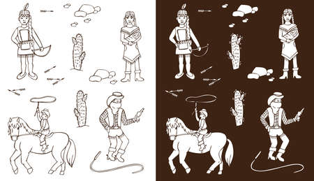 native american baby: Illustration on white and dark background Wild West. Injun woman with child, cowboy on horseback
