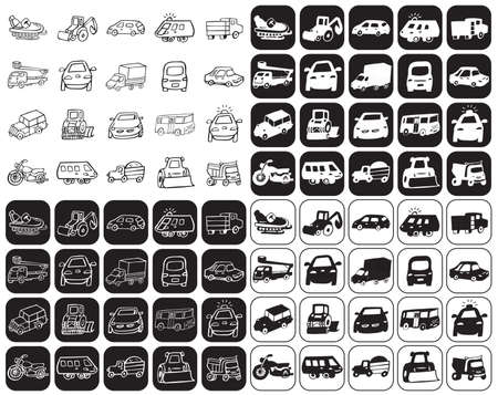 a white police motorcycle: illustration on black and white background icons set cars