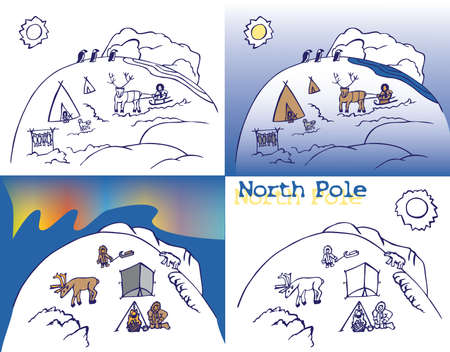 north pole: illustration on white background North pole with the inhabitants and people, Northern lights