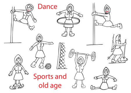 baile caricatura: humorous illustration on a white background the old woman in various sports and pole dancing.
