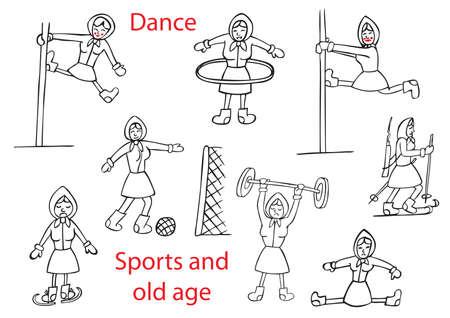 baile caricatura: ilustración humorística sobre un fondo blanco la mujer de edad en varios deportes y el baile del tubo. Vectores