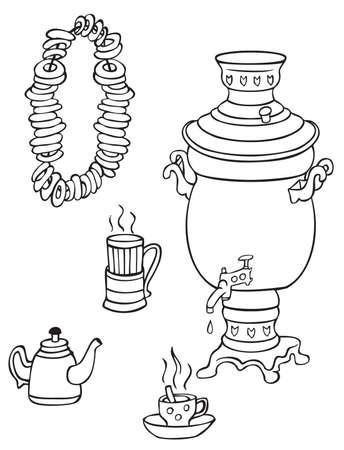 samovar: illustration on white background samovar, cups of tea and bagels on a rope