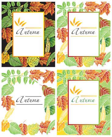 alder: frame illustration with autumn tree leaves on black and white background Illustration