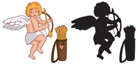 amur: illustration on white background silhouette and a color image of Cupid with a quiver and arrows