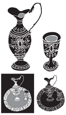 still life food: black illustration of a tray with a glass and decanter ornament on white background