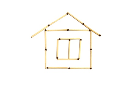 house from matches isolated on a white background