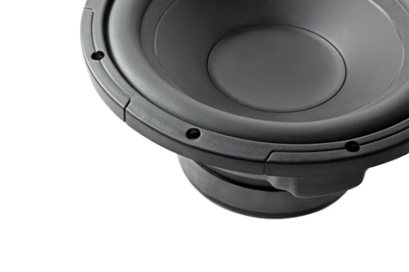 powerful subwoofer isolated on a white background photo