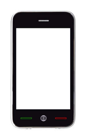 modern touch screen phone isolated on white background