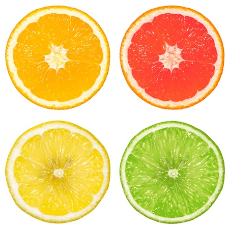 lime, orange, grapefruit and lemon isolated on a white background photo