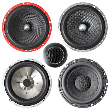 set of speakers isolated on a white background