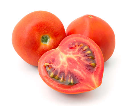 ripe red tomatoes isolated on white background Banque d'images
