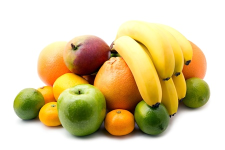 Assortment of fresh fruits on white background Banque d'images