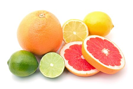 mix of colorful citrus fruit on white background Banque d'images