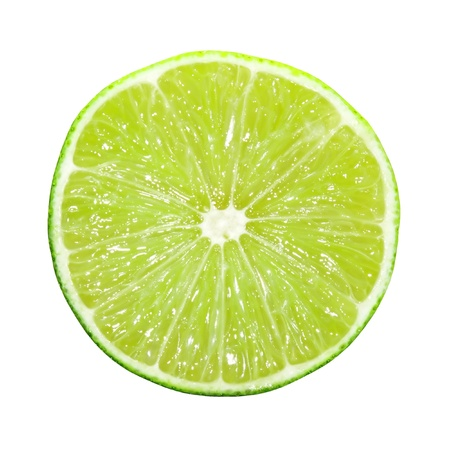 lime slice: Slice of lime isolated on white Stock Photo