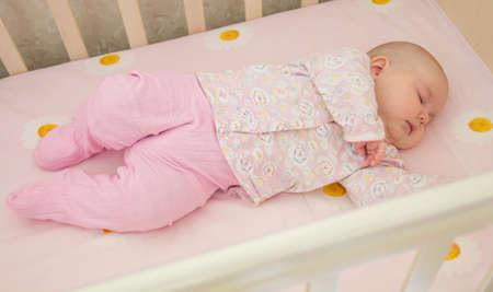 very: Very nice sweet baby sleeping in crib Stock Photo