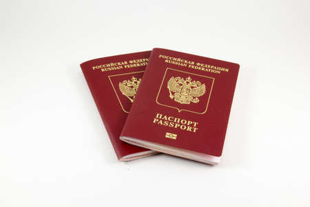 customs official: Russian international passports on a white background