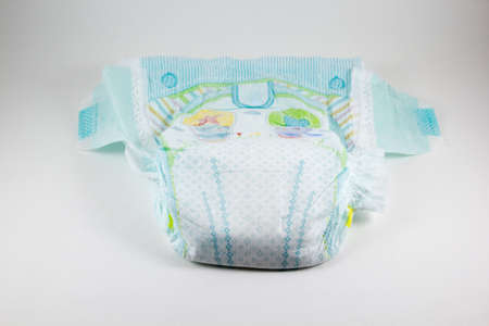 Baby diaper on a white background Stock Photo
