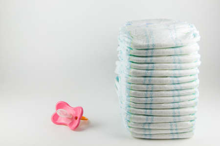 Baby diapers on a white background Stock Photo