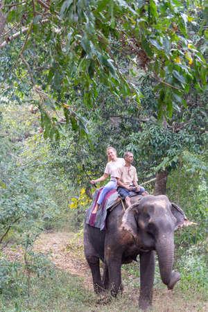 Goa, India - December 20, 2018: Tourist riding an Indian elephant. Bhagavan Mahavir Reserve