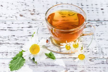 A cup of fragrant tea standing on a wooden, white table, in the rays of sunlight, in the flowers of the field chamomile, along which a ladybird crawls.