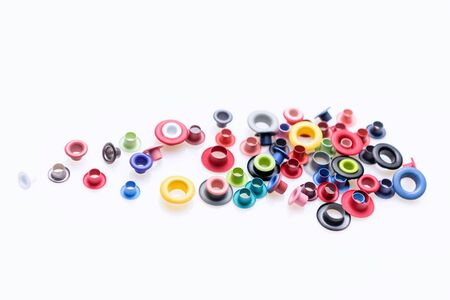Colorful buttons on white background