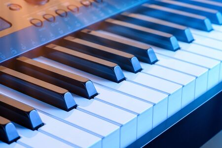 Digital synthesizer piano keyboard keys.Black &white piano key board in closeup.Play electronic piano keyboards.Professional musician sound recording equipment. Banque d'images