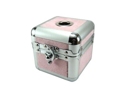 Small pink metal casket isolated on a white background photo