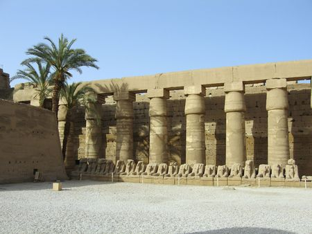 tomb: Ram-headed sphinxes in the forecourt of the Temple of Amun in Karnak near Luxor (Thebes), Egypt