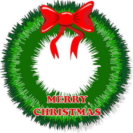 Green christmas wreath with red ribbon wrapped around it and bow at the top Vector