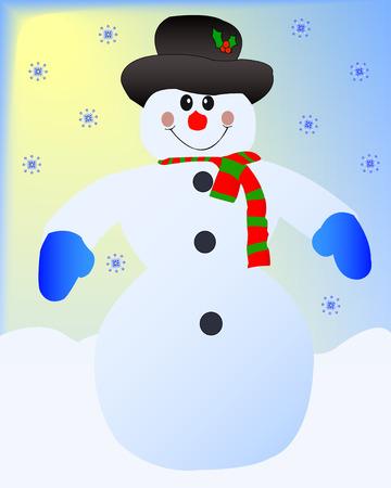 kopftuch: Ein gl�cklicher Schneemann steht in einem Sun Snow Day