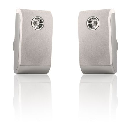 stereo subwoofer: Two stereo loudspeakers isolated on a white background