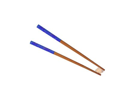 hashi: Chopsticks and a pinch of rice on a white background