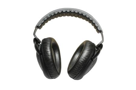 Black professional headphones isolated on white background photo