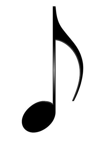 music note: Musical eighth note isolated on white background