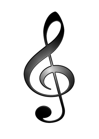 3D symbol treble clef isolated on white background photo