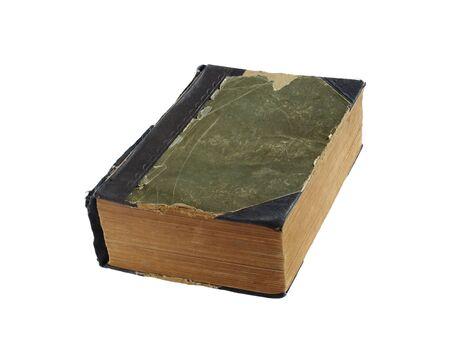 Vecchio libro con copertina rigida di panno sfilacciato isolata on white Archivio Fotografico - 8941739
