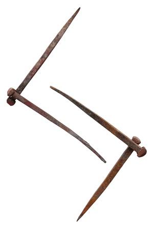 farriery: Scandinavian rune Jera consist of old rusty nails Stock Photo