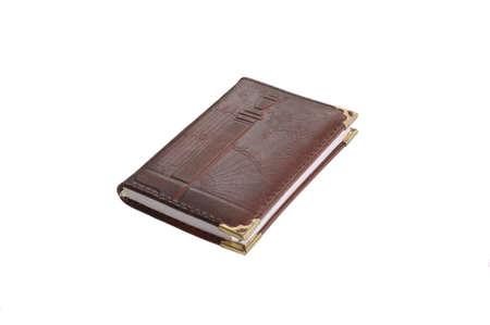 traditionary: Traditional paper notebook with leather cover isolated on white Stock Photo