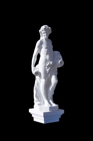vasi greci: Antica statua del dio greco su sfondo nero