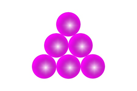 Six balls with a rough texture of surface color magenta Stock Photo - 17902387