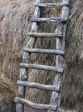 hayloft: Escaleras de madera viejas en el pajar