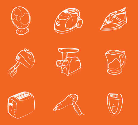 white home electronics icons Vector