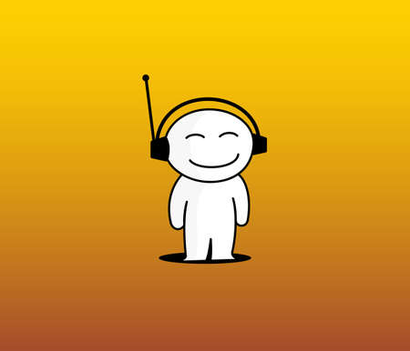 Boy of the white colour loving to listen music on yellow background Vector