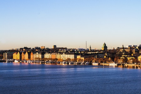 Stockholm view - the historical part of the city on the Kungsholmen Island at sunset Stock Photo