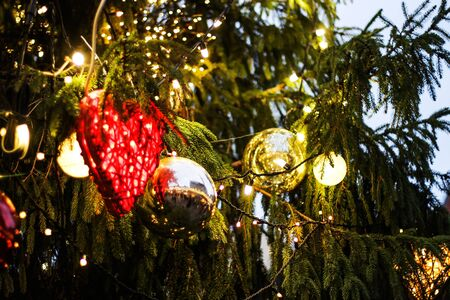 celebrate: Christmas tree with red and yellow balls