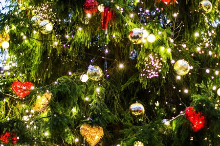 celebrate: Beautiful Christmas tree with red balls and garlands
