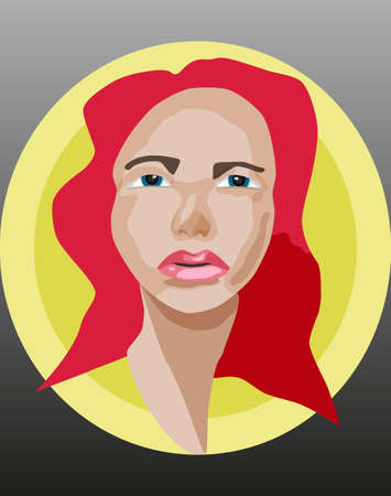 yellow hair: Beautiful girl with red hair in a yellow circle