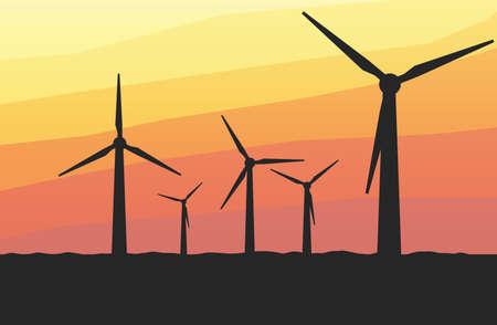 windmills: Five windmills at sunset