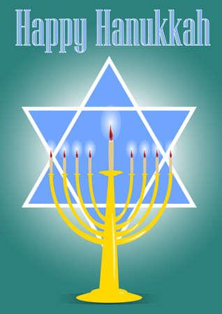 happy hanukkah: Happy Hanukkah and star of David